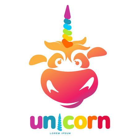 Funny unicorn face graphic logo template. Full color catroon unicorn head and rainbow logo design for web, advertisements, brochures, business templates. Vector illustration on white background. Illustration