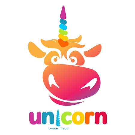 Funny unicorn face graphic icon template. Full color cartoon unicorn head and rainbow icon design for web, advertisements, brochures, business templates. Vector illustration on white background. Illustration
