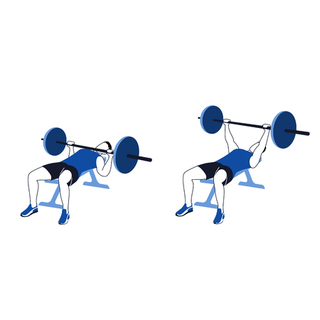 Fitness exercises for strong and beautiful chest. Fitness, Aerobic and workout exercise in gym. Vector set of gym icons in line style isolated on white background. People in gym. Gym equipment.