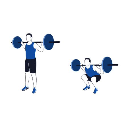 Fitness exercises for strong and beautiful legs. Fitness, Aerobic and workout exercise in gym. Vector set of gym icons in line style isolated on white background. People in gym. Gym equipment. Illustration