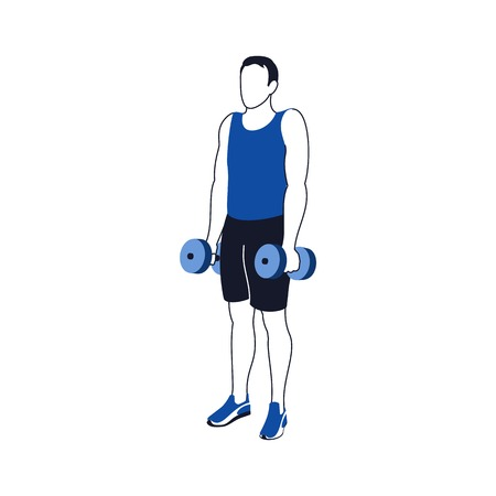 Fitness exercises for strong and beautiful shoulder. Fitness, Aerobic and workout exercise in gym. Vector set of gym icons in line style isolated on white background. People in gym. Gym equipment. Иллюстрация