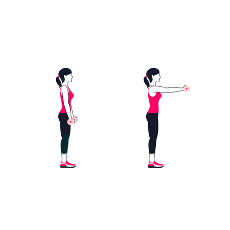 Fitness exercises for strong and beautiful shoulder. Fitness, aerobic and workout exercise in gym. Vector set of gym icons in line style. Isolated on white background. People in gym. Gym equipment.