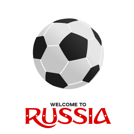 Soccer ball illustration in flat style with Welcome to Russia texg. . Vectores