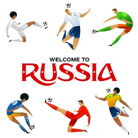 joueur de football joueur illustration vectorielle joueur de football dans le vecteur de l & # 39 ; éducation. ensemble dans un style plat isolé sur fond blanc