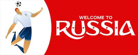 Red vector illustration banner with soccer player. Welcome to Russia.