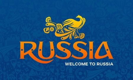 Vector illustration with Welcome to Russia text, and modern and traditional elements on blue background.