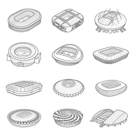 Conjunto de iconos isométricos o elementos de infografía arenas de fútbol. Edificios de estadios de fútbol. Ilustración de vector en estilo de línea aislada sobre fondo blanco.