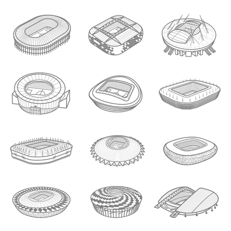 Isometric icon set or infographic elements soccer arenas. Football stadiums buildings. Vector illustration in line style isolated on white background.