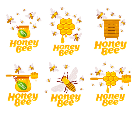 Full color illustration bee, hive, apiary, honey jar and dipper logos for honey products, labels, bee farms and apiaries. Flat style vector illustrations isolated on white background.