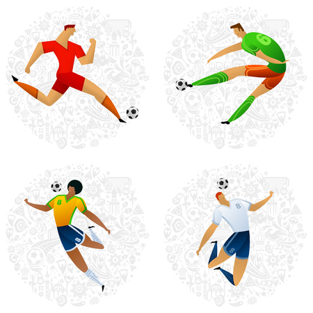 Soccer player on gray official background. Football player in Russia. Full color vector illustration in flat style. Illusztráció