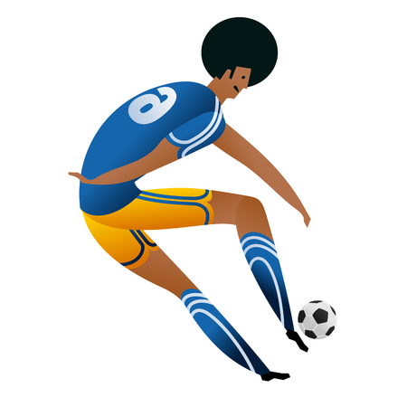 Soccer player on gray official background.  Football player in Russia. Full color vector illustration in flat style. Ilustração