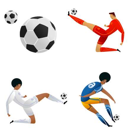 Soccer player on gray official background. Football player in Russia. Full color vector illustration in flat style. Vettoriali