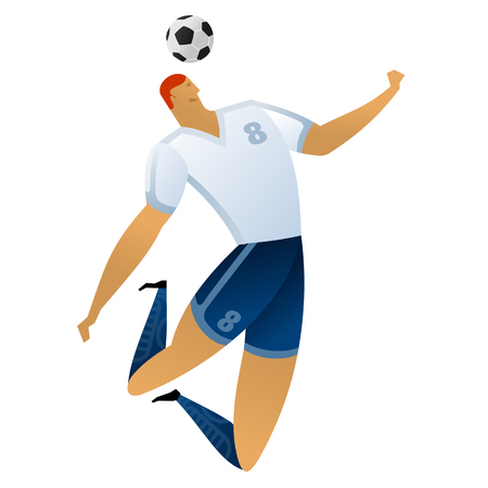 Soccer player on gray official background. Football player in Russia. Full color vector illustration in flat style. Çizim