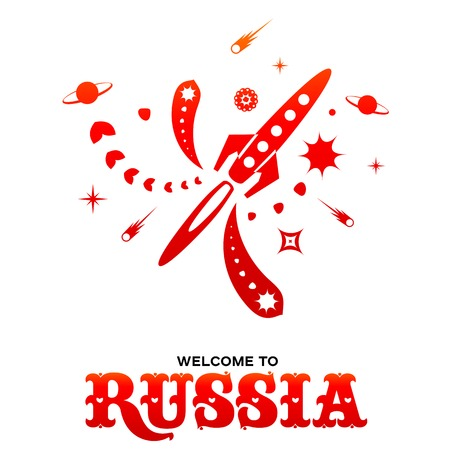 Lettering welcome to Russia. World of Russia modern and traditional elements, 2018 trend templates. Vector illustration isolated on white background. Illustration
