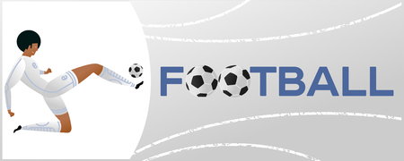 Banner with soccer player. Lettering Football with two ball. Football player in campionship. Fool color vector illustration in flat style isolated on white background.