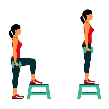 Ejercicios de fitness para un cuerpo fuerte y hermoso. Fitness, ejercicio aeróbico y de entrenamiento en el gimnasio. Vector conjunto de iconos de gimnasio en estilo de línea aislado sobre fondo blanco. Personas en el gimnasio. Equipo de gimnasio.