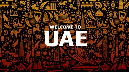 Vector illustration gold background. Lettering welcome to United Arab Emirates. World of UAE pattern with modern and traditional elements. 2018, 2019 trend. Asian Football Cup