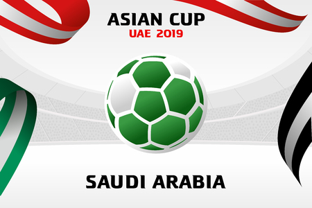 Vector illustration of a soccer ball in the colors of the national flag. On the background of the football arena. 2018, 2019. Asian Football Cup, Club World Cup in the United Arab Emirates.
