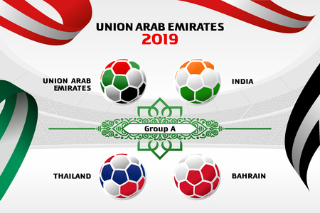 Vector illustration results and standing tables scoreboard championship tournament in United Arab Emirates. Asian Football Cup 2019. Broadcast template. Soccer 2019 championship tournament.