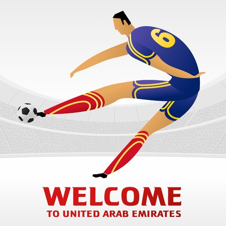 Soccer player on background with soccer stadium. 2018, 2019 trend. Asian Football Cup, in United Arab Emirates. Full color vector illustration in flat style. Ilustração