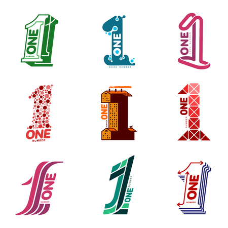 Sets of number one templates. Full colors graphic number one  templates, corporate identity, vector illustrations isolated on white background.