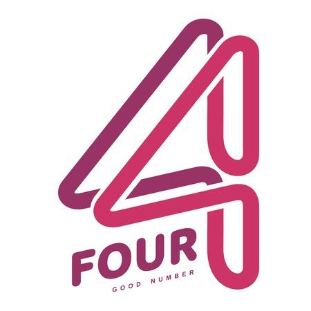 Modèles de logo numéro quatre. Modèles de logo numéro un graphique en couleurs, identité d'entreprise, illustrations vectorielles isolées sur fond blanc.