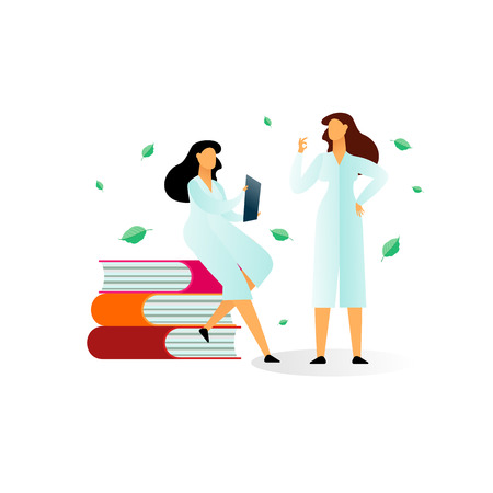 Vector flat illustration, two women medical scientists and a bottle of medication on a white background, medical research. Scientists and doctors examine, discuss diseases, medications, treatment