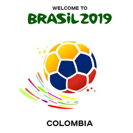 Vector illustration of a soccer ball in the colors of the national flag on the white background. CONMEBOL Copa America 2019 soccer championship tournament in Brasil. Broadcast template. Football championship tournament 2019 Illustration