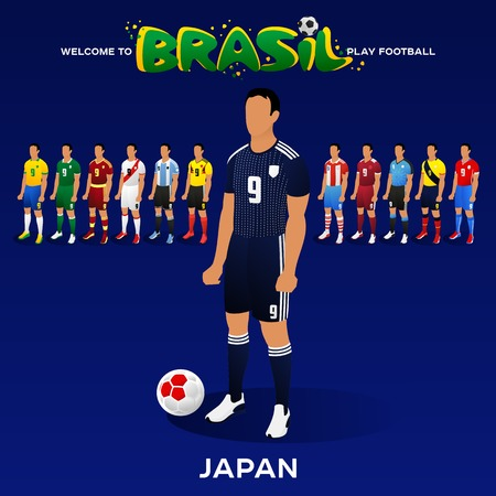Football player of Japan and other national team players in the form of national teams. Championship Conmeball Copa America 2019 in Brazil. Vector illustration in flat style.
