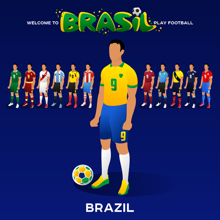 Football player of Brazil and other national team players in the form of national teams. Championship Conmeball Copa America 2019 in Brazil. Vector illustration in flat style. Illustration