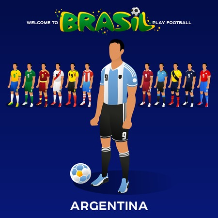 Football player of Argentina and other national team players in the form of national teams. Championship Conmeball Copa America 2019 in Brazil. Vector illustration in flat style. Illusztráció
