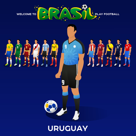Football player of Uruguay and other national team players in the form of national teams. Championship Conmeball Copa America 2019 in Brazil. Vector illustration in flat style.