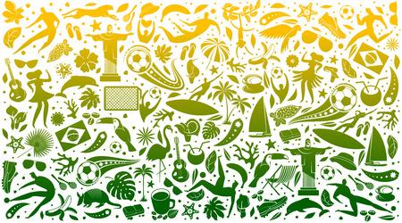 Fondo verde de la ilustración del vector. Patrón del mundo de Brasil con elementos modernos y tradicionales. Tendencia 2019. Campeonato Conmeball Copa América 2019 en Brasil. Ilustración de vector de estilo plano.
