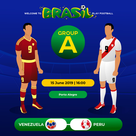 Football national team players in the form of national teams. Group tournament. Championship Conmeball Copa America 2019 in Brazil. Vector illustration in flat style.