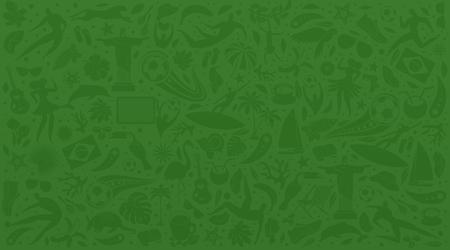 Grüner Hintergrund der Vektorillustration. World of Brasil-Muster mit modernen und traditionellen Elementen. 2019-Trend. Meisterschaft Conmeball Copa America 2019 in Brasilien. Vektorillustration im flachen Stil.