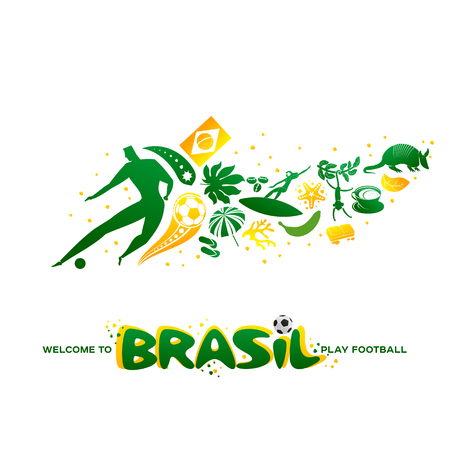 Vector illustration green background. World of Brasil pattern with modern and traditional elements. 2019 trend. Championship Conmeball Copa America 2019 in Brazil. Vector illustration in flat style.