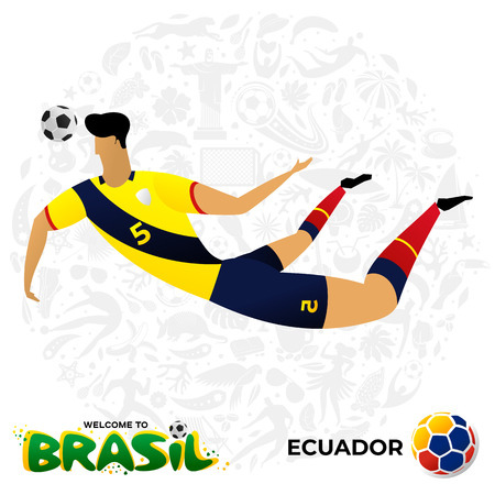 Soccer player on background with modern and traditional elements. Football player in the form of national teams. Championship Conmeball Copa America 2019 in Brazil. Vector illustration in flat style. Ilustração