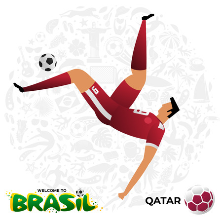 Soccer player on background with modern and traditional elements. Football player in the form of national teams. Championship Conmeball Copa America 2019 in Brazil. Vector illustration in flat style.