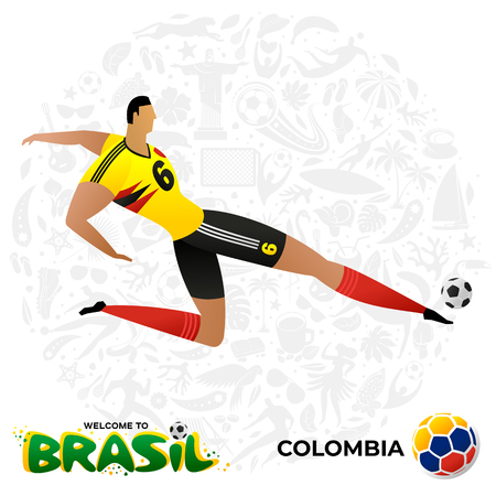 Soccer player on background with modern and traditional elements. Football player in the form of national teams. Championship Conmeball Copa America 2019 in Brazil. Vector illustration in flat style. Ilustracja