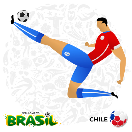 Soccer player on background with modern and traditional elements. Football player in the form of national teams. Championship Conmeball Copa America 2019 in Brazil. Vector illustration in flat style.  イラスト・ベクター素材