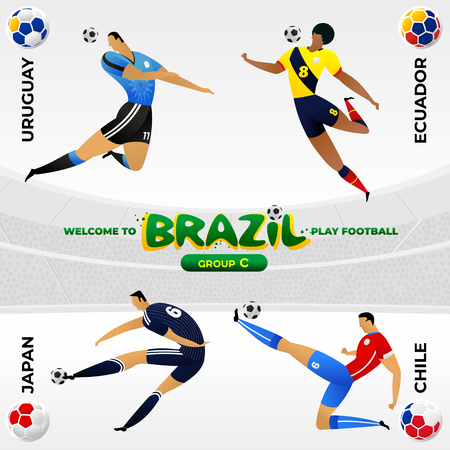 Football player in the background of a pattern of Brazilian national symbols