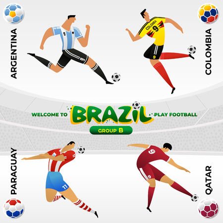 Football player in the background of a pattern of Brazilian national symbols Stockfoto - 125038459