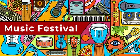 Music festival banner. Music instruments. Colorful music background. Vector illustration