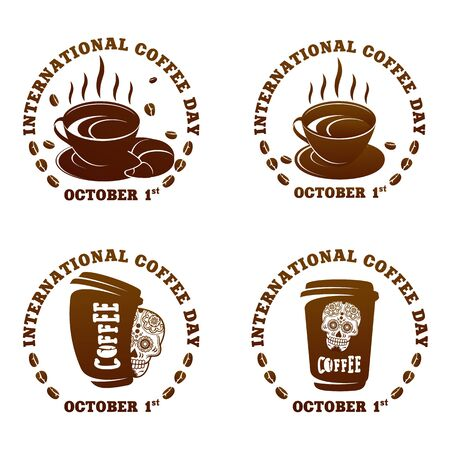 Coffee logo templates. Abstract two colors International coffee day logo templates for your design. Badges, labels, banners , business templates. Vector illustration isolated on white background Çizim