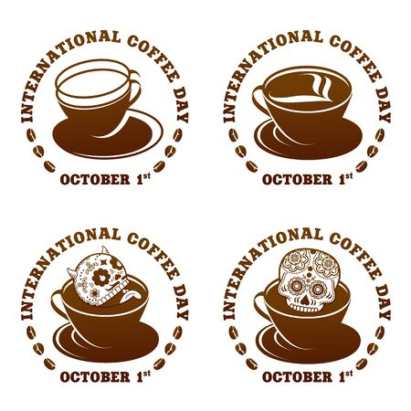 Coffee logo templates. Abstract two colors International coffee day logo templates for your design. Badges, labels, banners , business templates. Vector illustration isolated on white background Stok Fotoğraf - 133387465