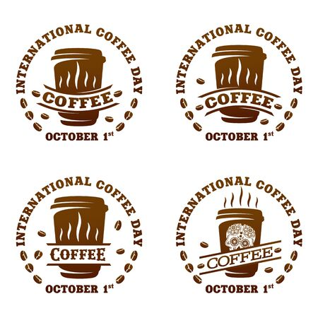 Coffee logo templates. Abstract two colors International coffee day logo templates for your design. Badges, labels, banners , business templates. Vector illustration isolated on white background Stok Fotoğraf - 133387480