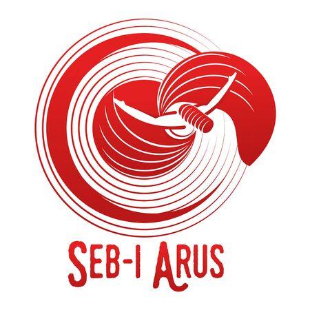 Vector logo illustration. Turkish, Sufi and Dervish Dance. Seb i Arus
