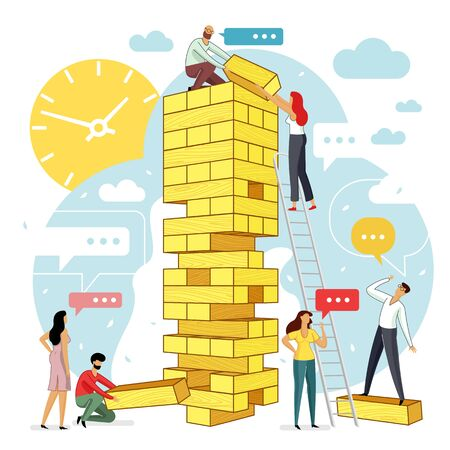 Vector flat illustration big tower blocks with group of young development specialists