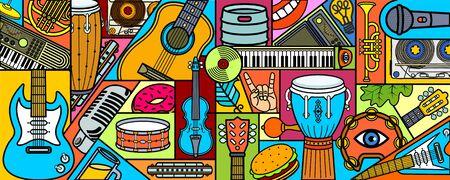Bandera del festival de música. Instrumentos musicales. Fondo de música colorida. Ilustración vectorial