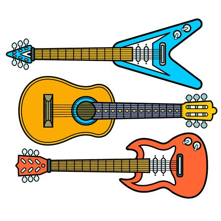 Music instruments. Colorful music background. Vector illustration